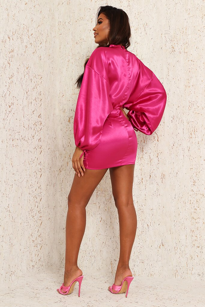 Nude Satin High Neck Balloon Sleeve Ruched Front Dress