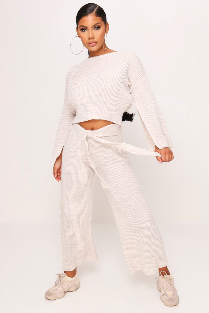 Stone Cropped Flare Sleeve Jumper view 2