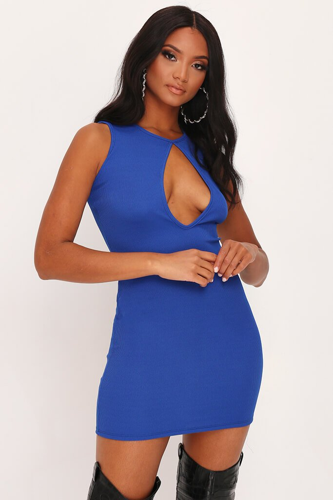 Cobalt Blue Skinny Rib Sleeveless Keyhole Bodycon Dress