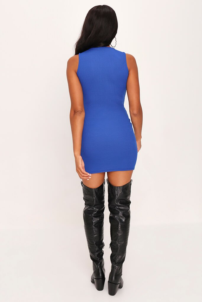 Cobalt Blue Skinny Rib Sleeveless Keyhole Bodycon Dress view 5