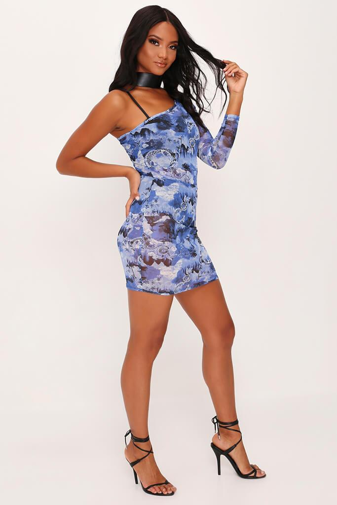 Blue Oriental Mesh One Shoulder Layered Bodycon Dress view 3