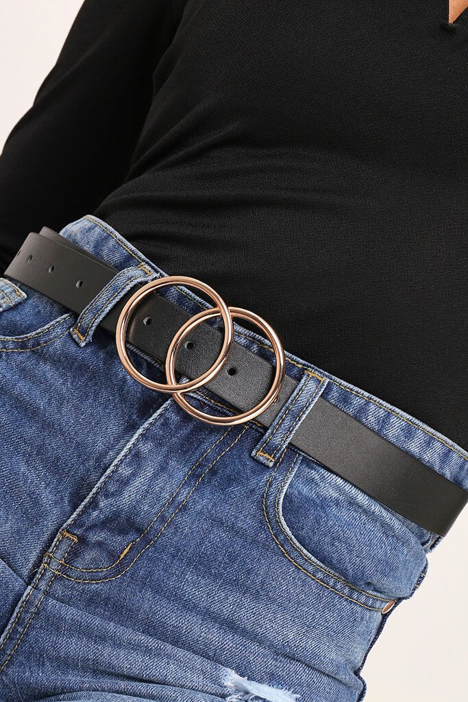 Black Double Circle Faux Leather Belt
