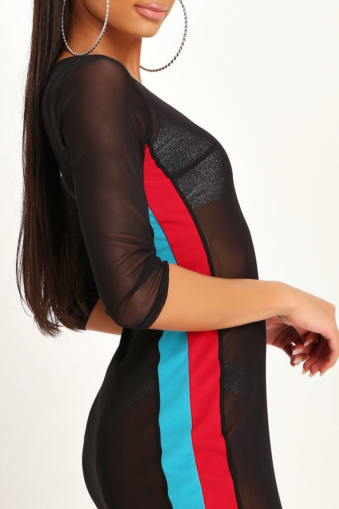 Black Mesh Stripe Maxi Dress view 4