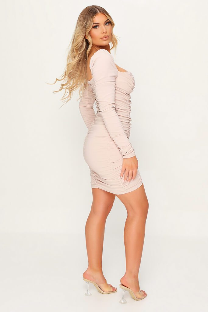 Nude Ruched Mini Dress view 3