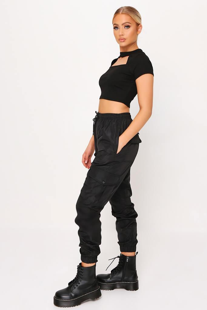 Black Ribbed Cut Out Panel Short Sleeve Crop Top view 3