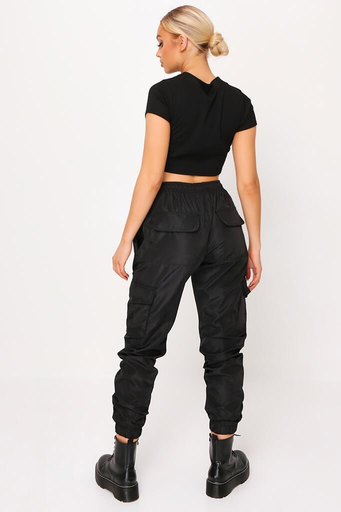 Black Ribbed Cut Out Panel Short Sleeve Crop Top view 5