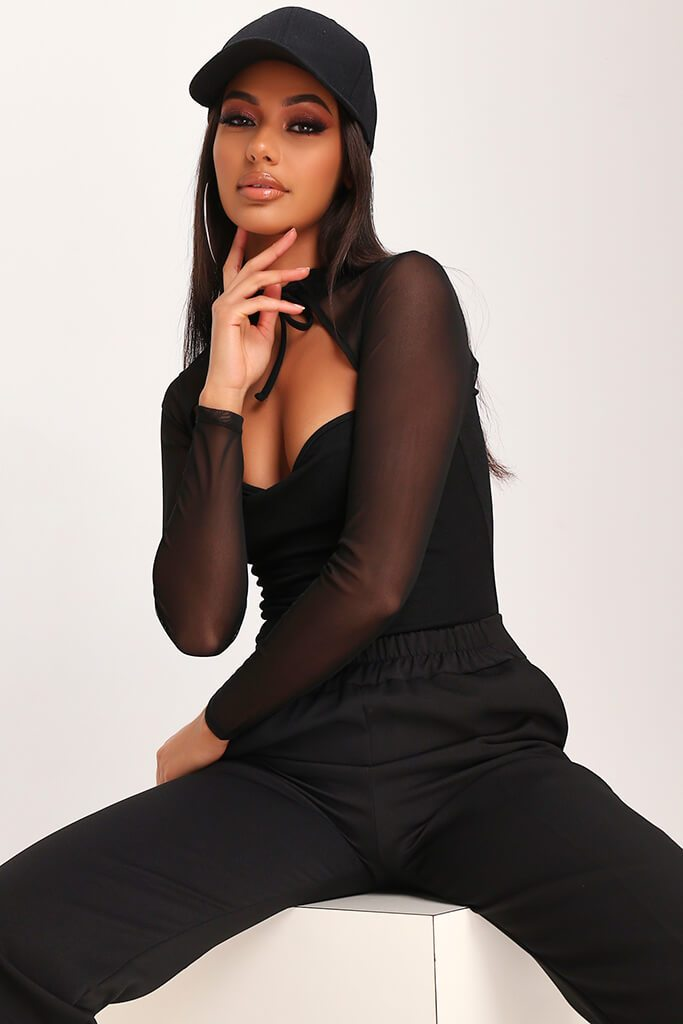 Black Mesh Panel Long Sleeved Bodysuit