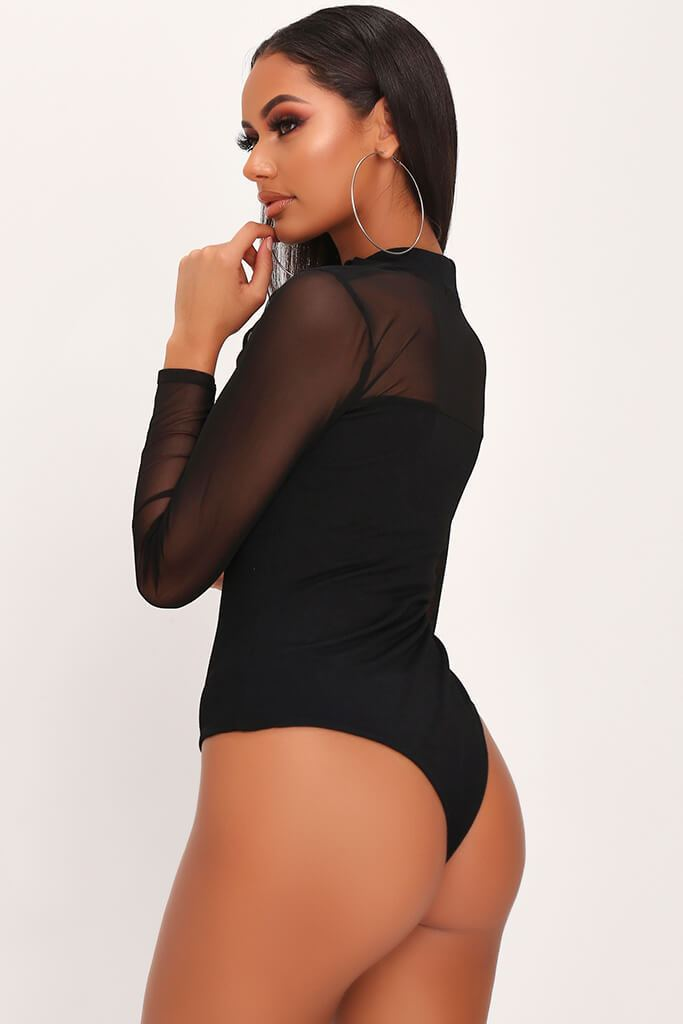 Black Mesh Panel Long Sleeved Bodysuit view 4