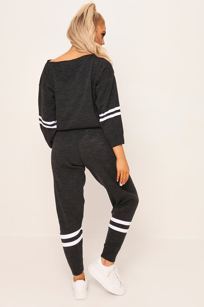 Charcoal Knitted Stripe Detail Lounge Wear Set view 5