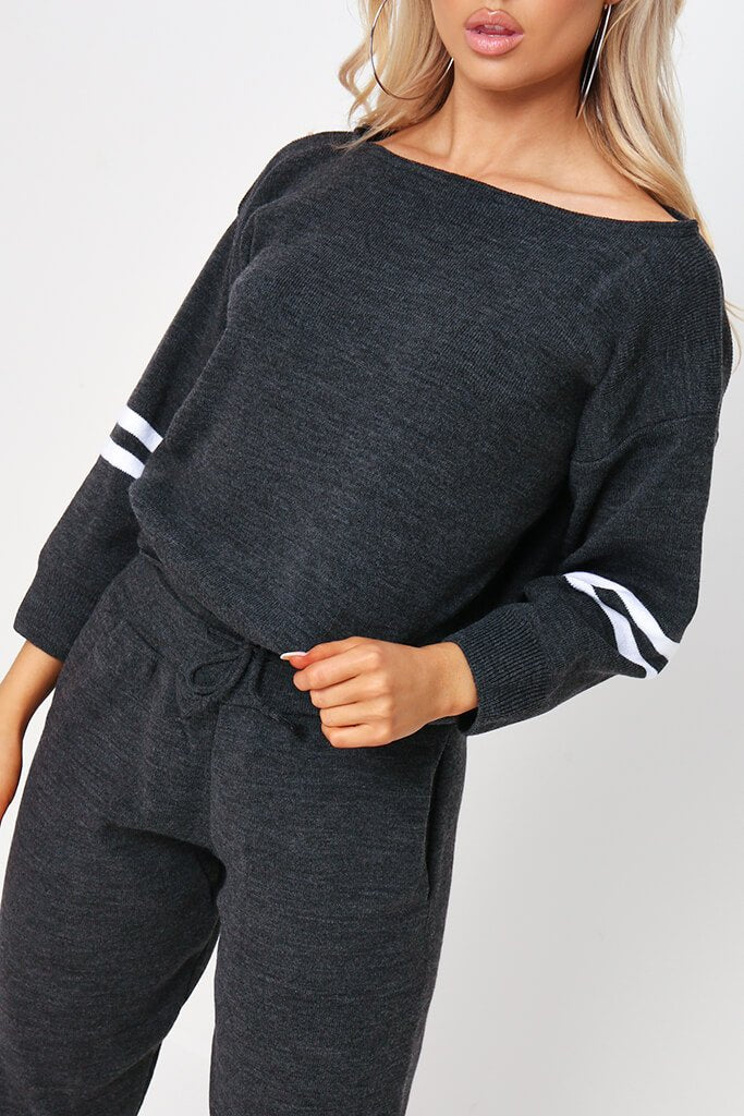Charcoal Knitted Stripe Detail Lounge Wear Set view 4