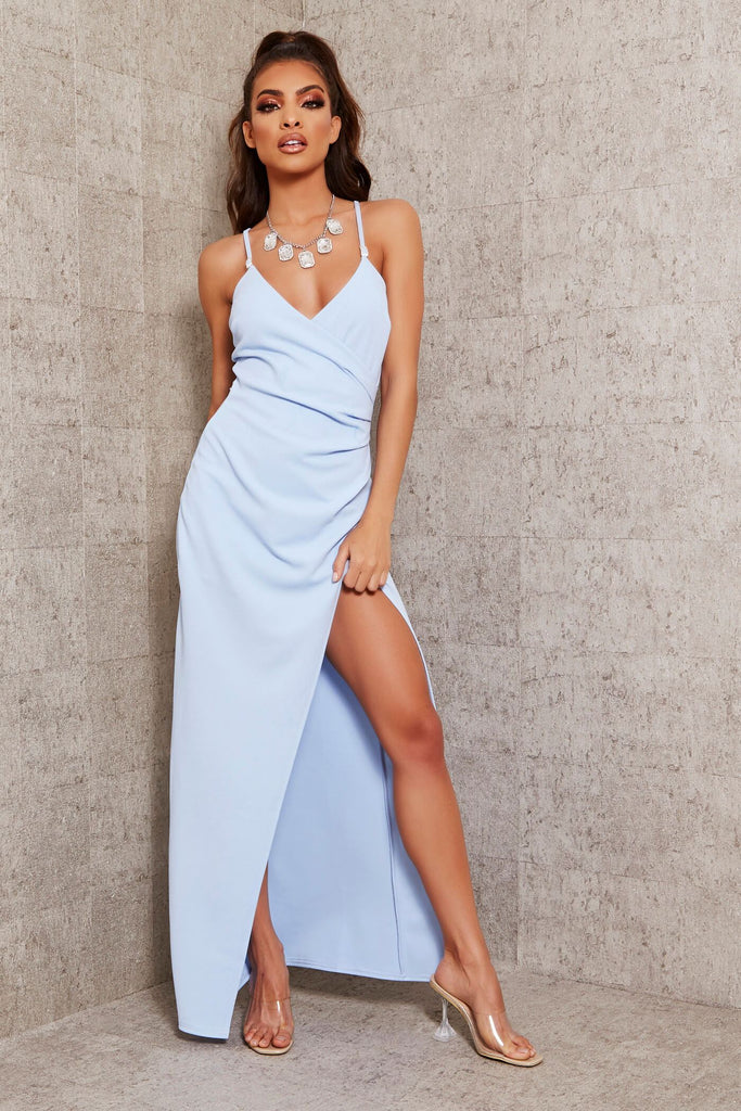 Baby Blue Diamante Strap Wrap Maxi Dress view main view