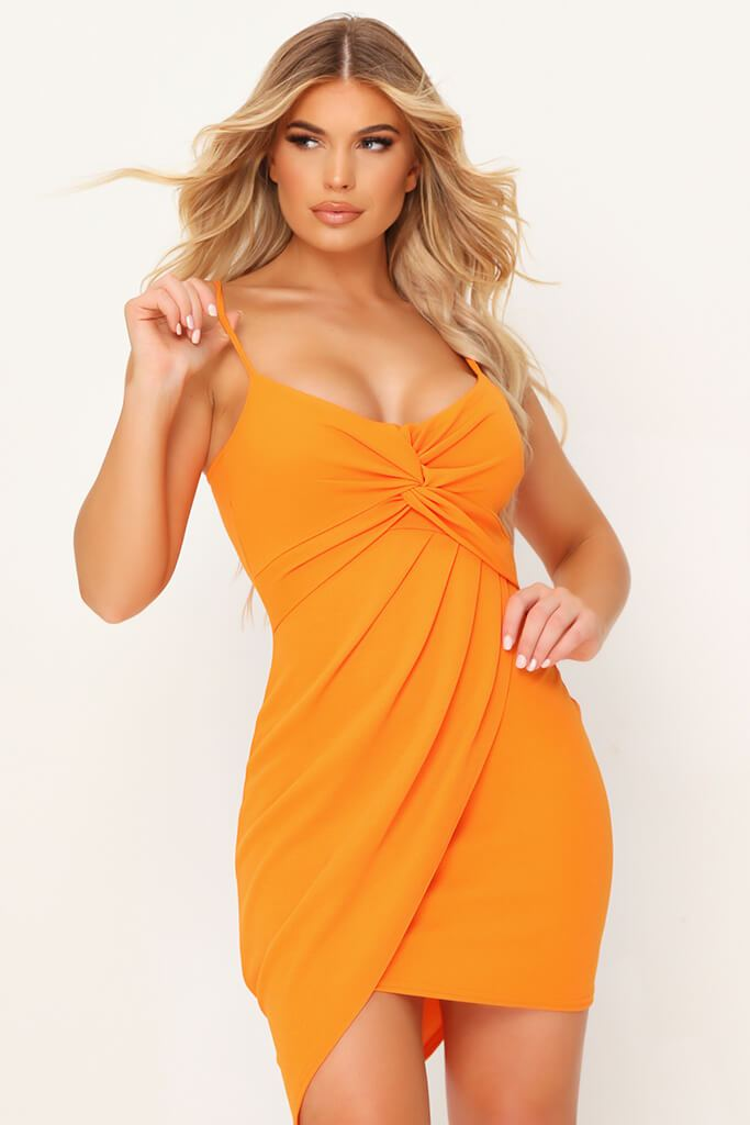 Orange Twist Front Mini Dress view 2