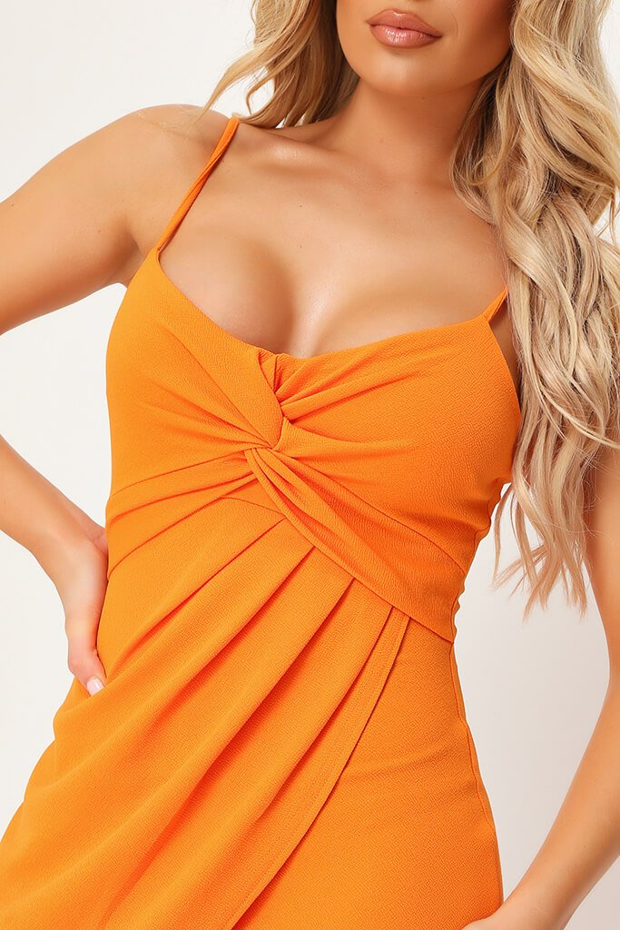 Orange Twist Front Mini Dress view 4