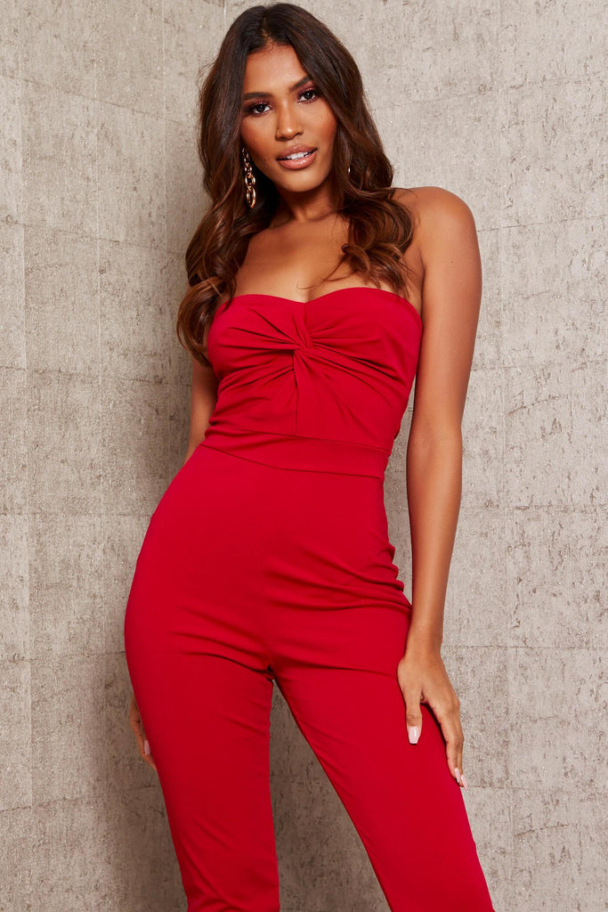 Red Twist Front Jumpsuit view 2