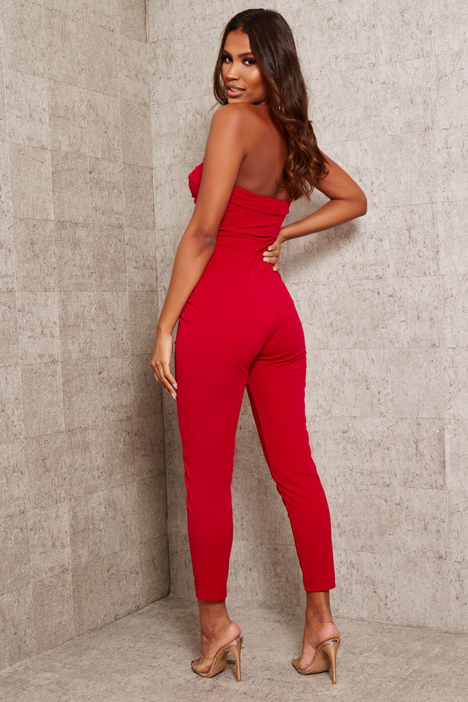 Red Twist Front Jumpsuit view 5