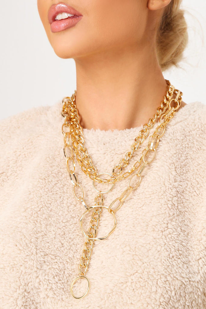 Gold Multi Chunky Chain Necklace view main view