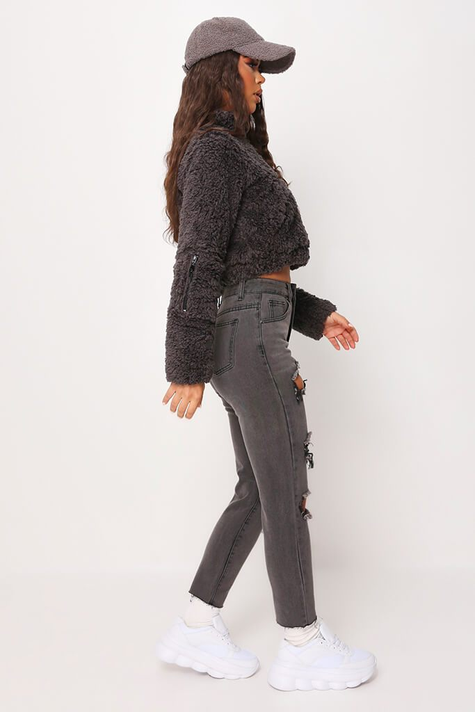 Black Extreme Distressed Boyfriend Jeans view 3