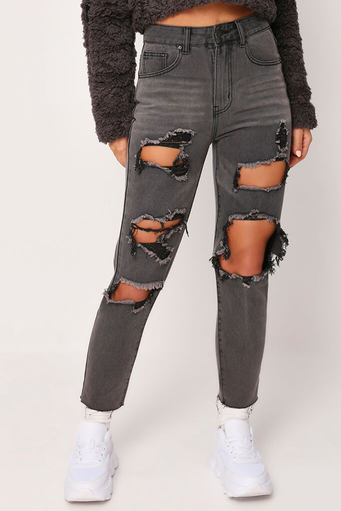 Black Extreme Distressed Boyfriend Jeans view 2