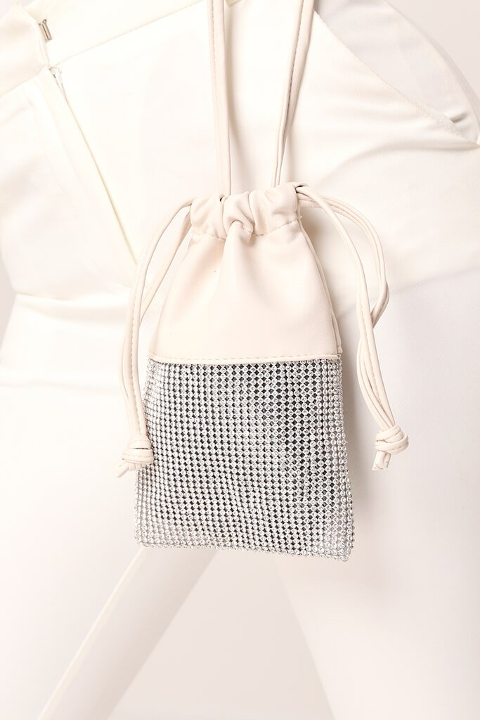 Cream Faux Leather Diamante Pouch Bag
