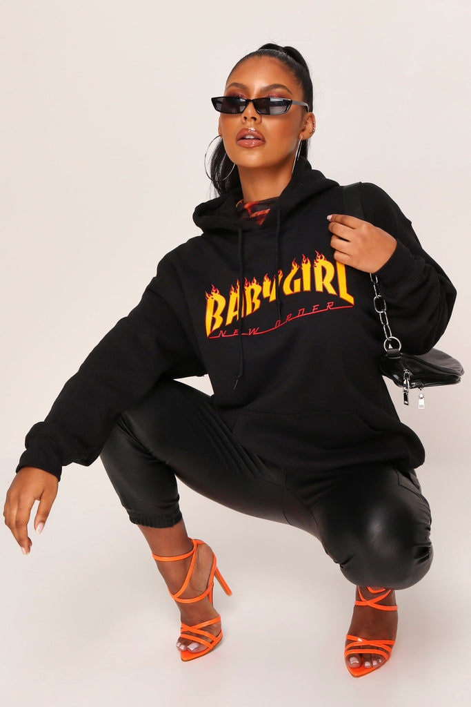 Black Baby Girl Flames Hoodie view 3