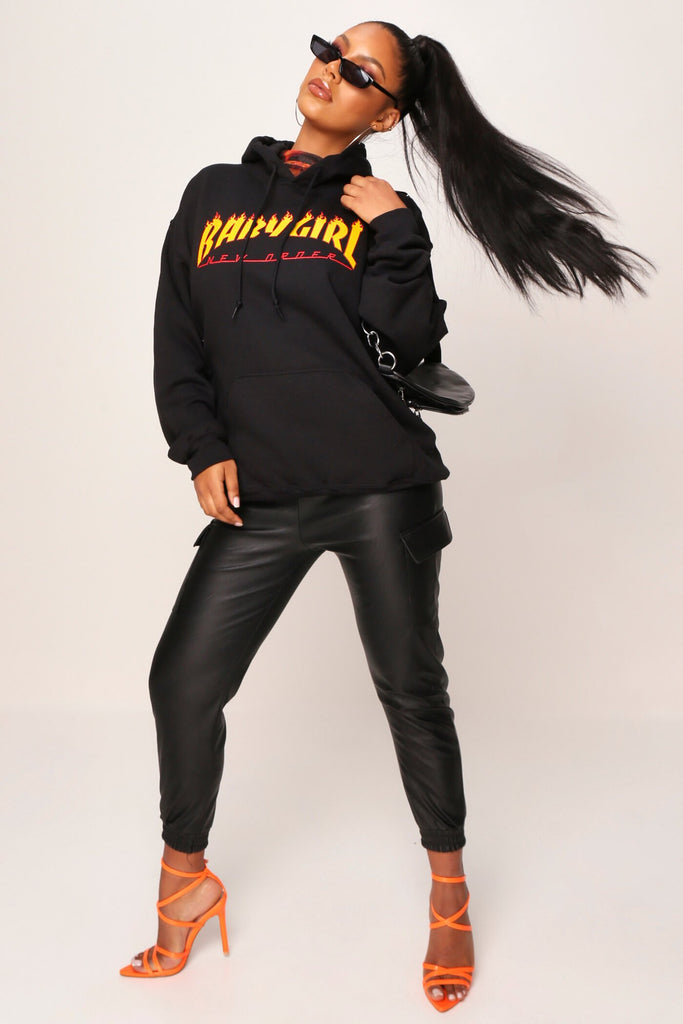 Black Baby Girl Flames Hoodie view 2