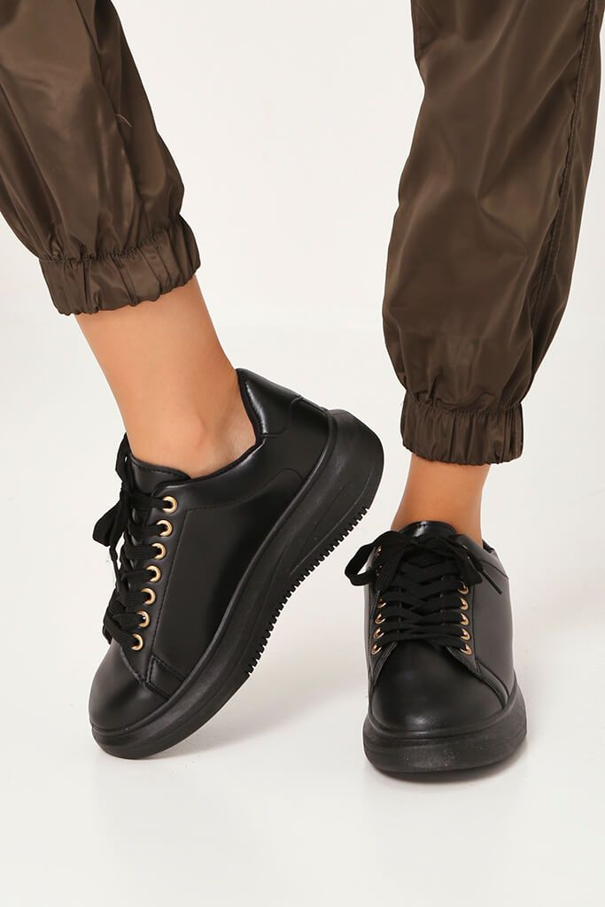 Black Faux Leather Lace Up Trainer