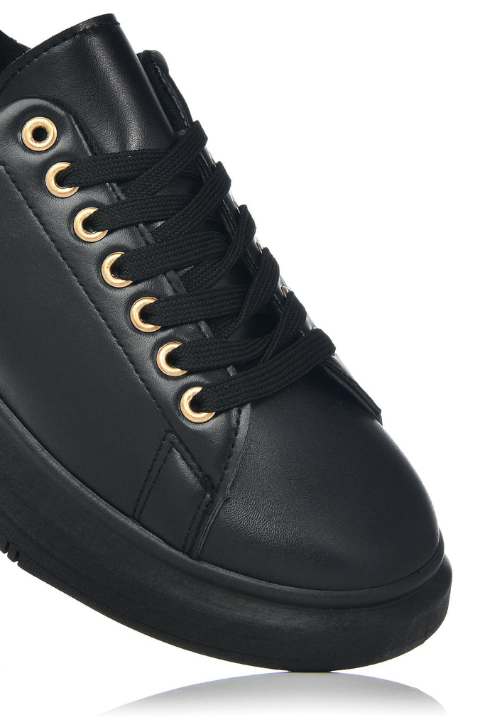 Black Faux Leather Lace Up Trainer view 5