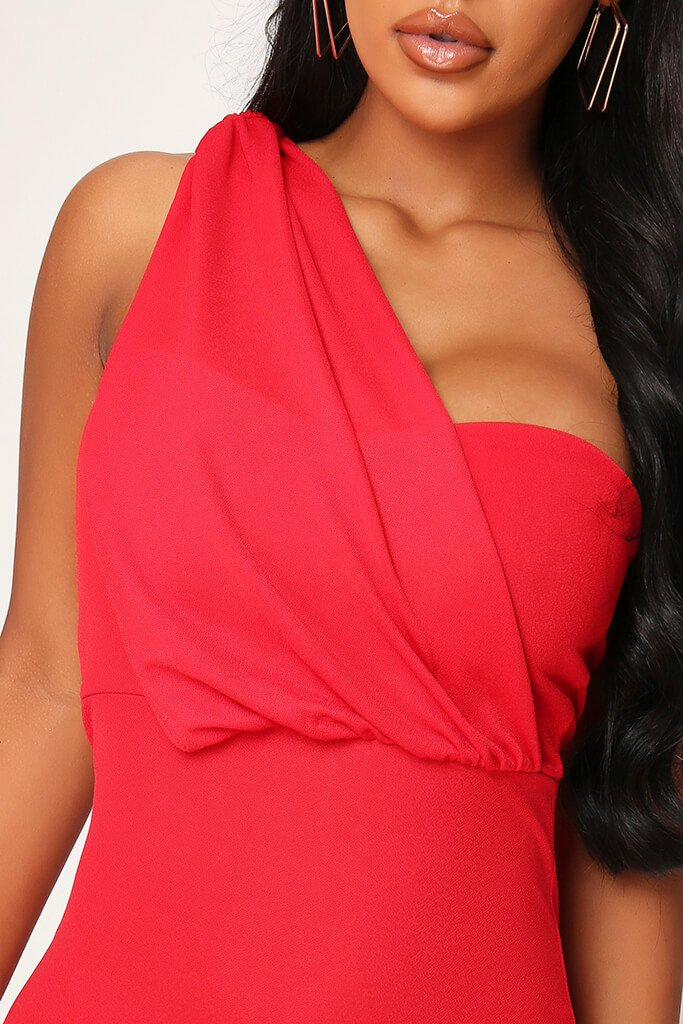 Red Stretch Crepe One Shoulder Bodycon Dress view 4