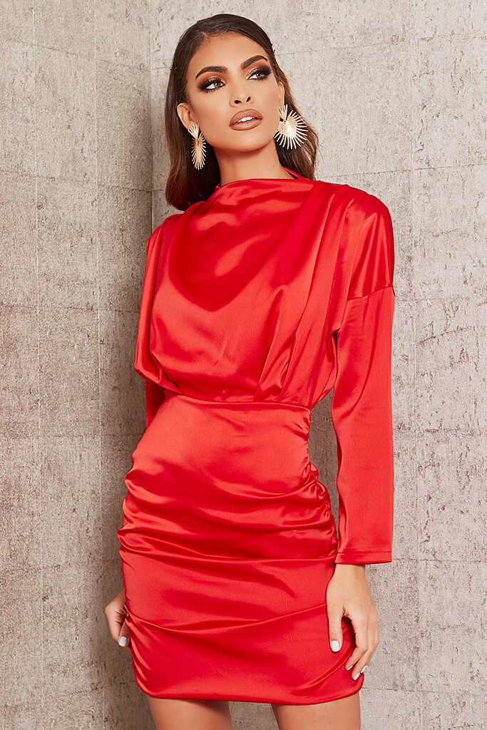 Red High Neck Ruched Back Satin Mini Dress