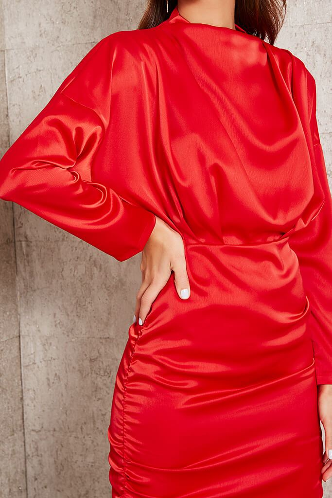 Red High Neck Ruched Back Satin Mini Dress view 4