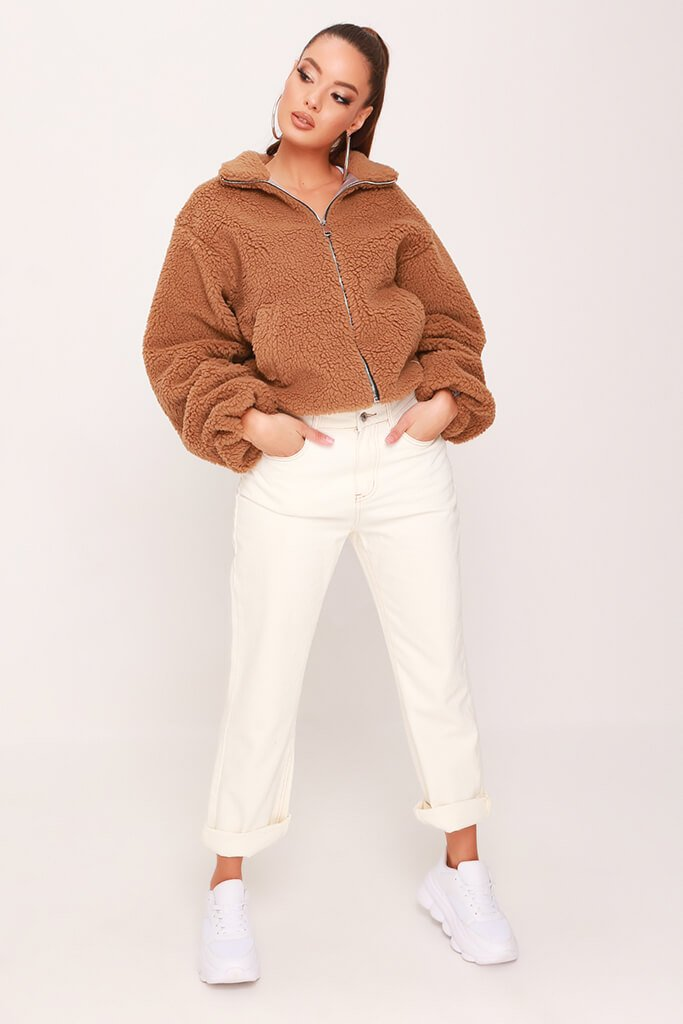 Camel Cropped Balloon Sleeve Teddy Borg Jacket view 2
