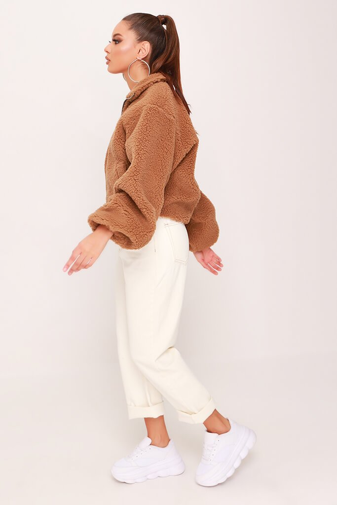 Camel Cropped Balloon Sleeve Teddy Borg Jacket view 3