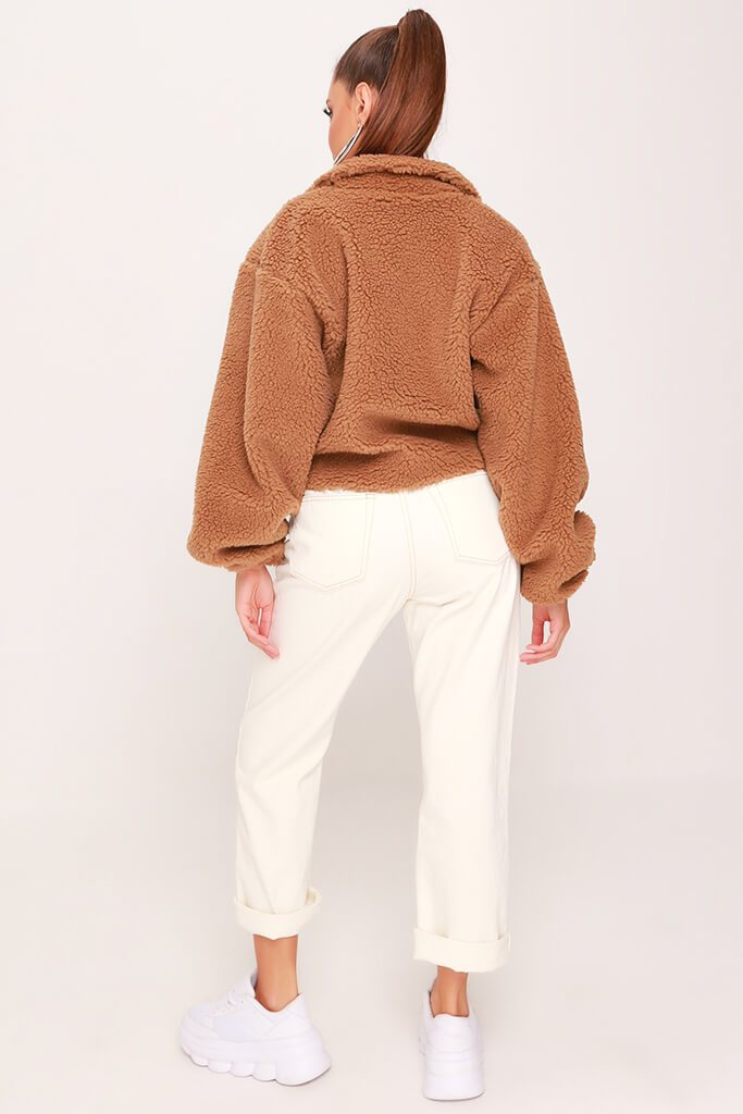 Camel Cropped Balloon Sleeve Teddy Borg Jacket view 5