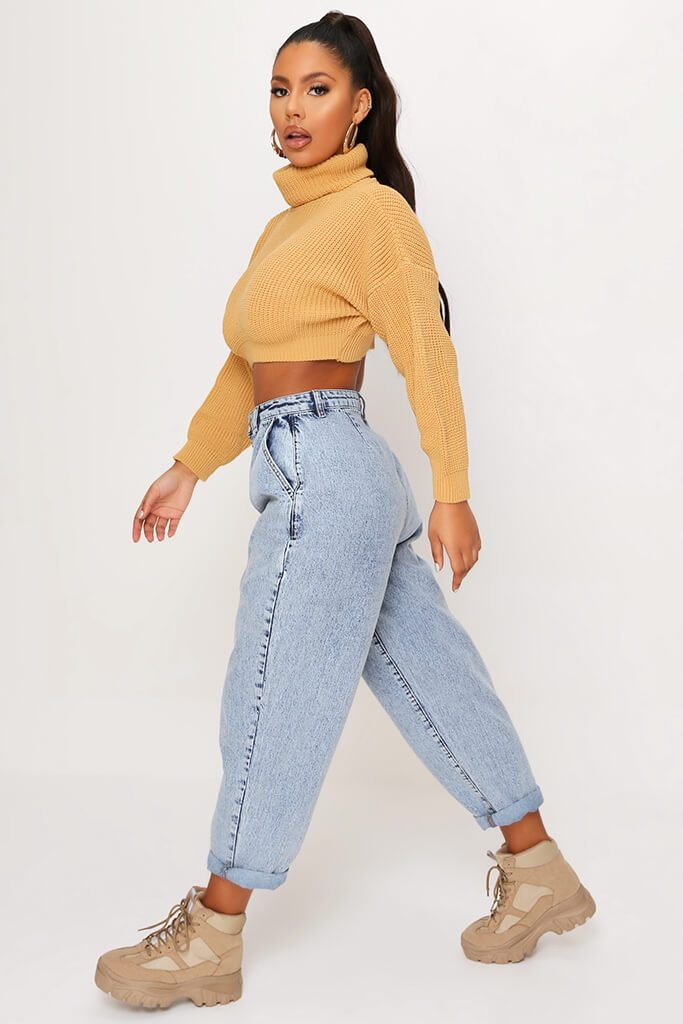 Camel Funnel Neck Crop Jumper view 3