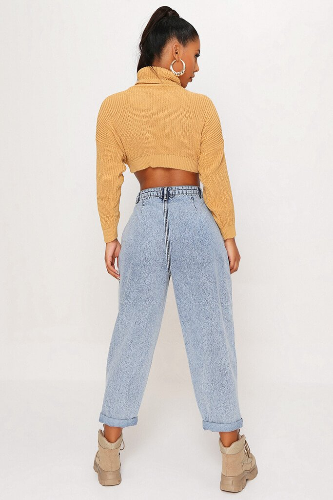 Camel Funnel Neck Crop Jumper view 4