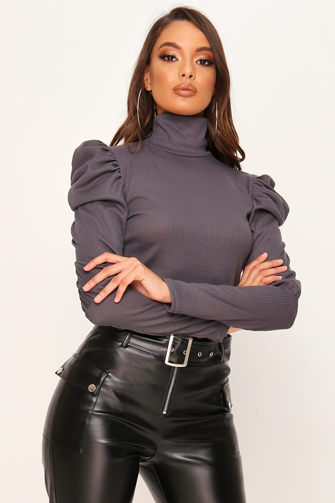 Charcoal Jumbo Rib Puff Sleeve Roll Neck Top