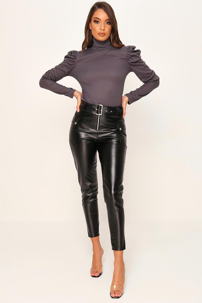 Charcoal Jumbo Rib Puff Sleeve Roll Neck Top view 2