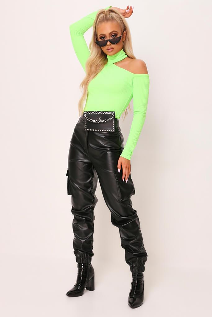 Neon Green Cut Out Shoulder Jumbo Rib Top view 2