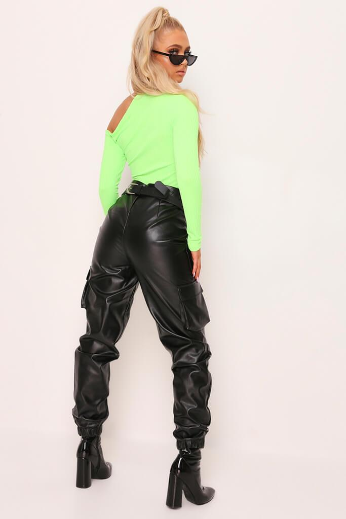 Neon Green Cut Out Shoulder Jumbo Rib Top view 5