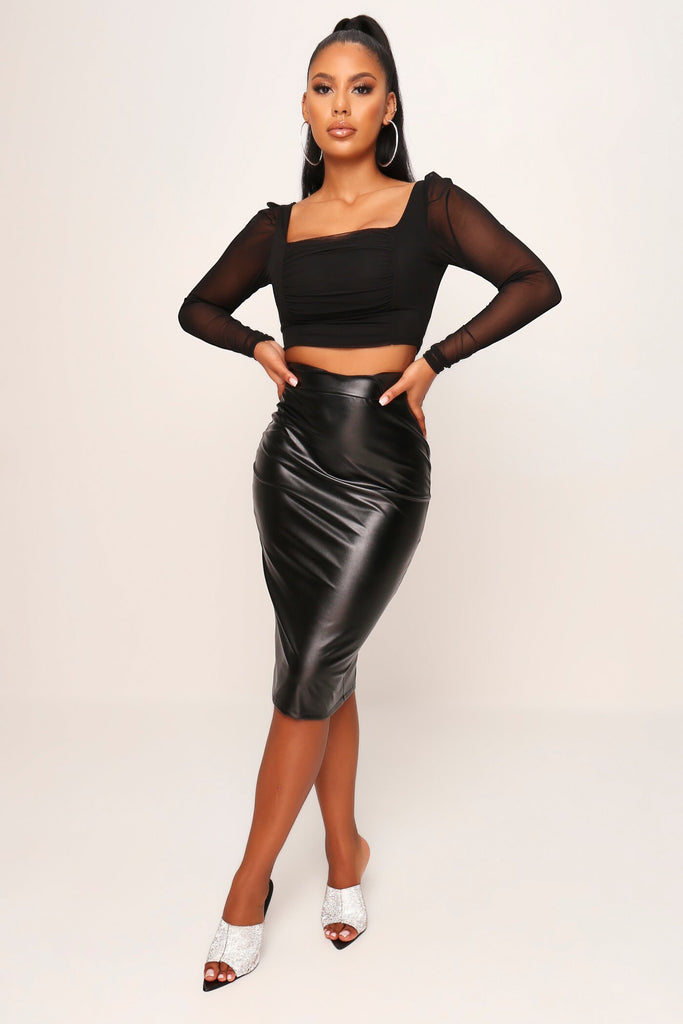Black Mesh Ruched Front Long Sleeve Crop Top view 2