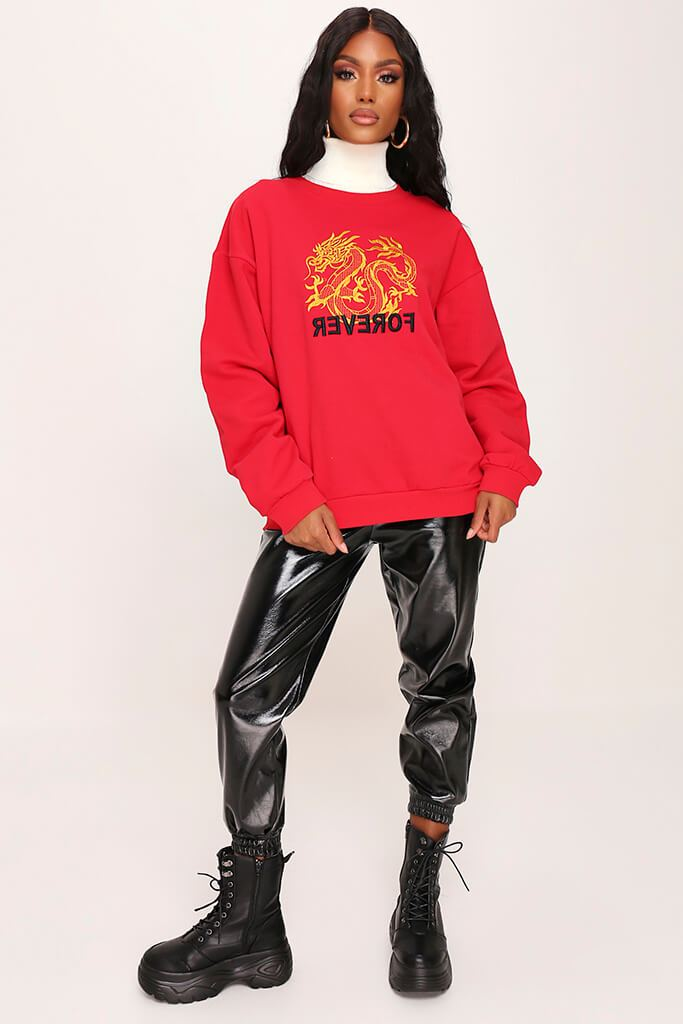 Red Dragon Embroidered Oversized Sweatshirt view 3