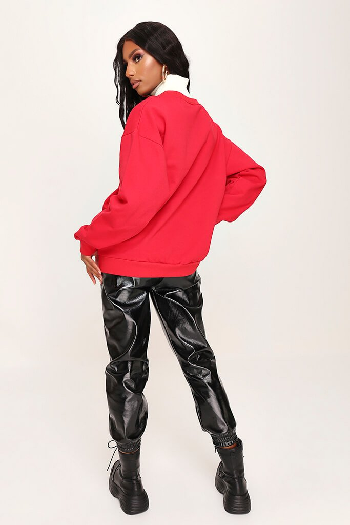 Red Dragon Embroidered Oversized Sweatshirt view 5