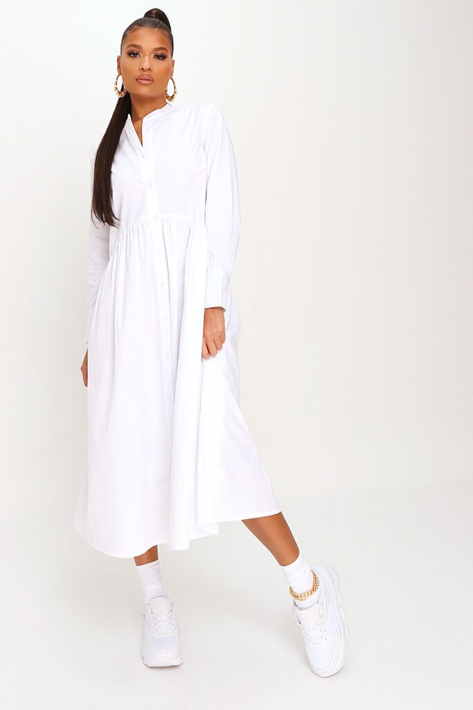 White Cotton Long Sleeve Midaxi Shirt Dress
