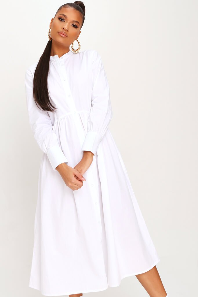 White Cotton Long Sleeve Midaxi Shirt Dress view 2