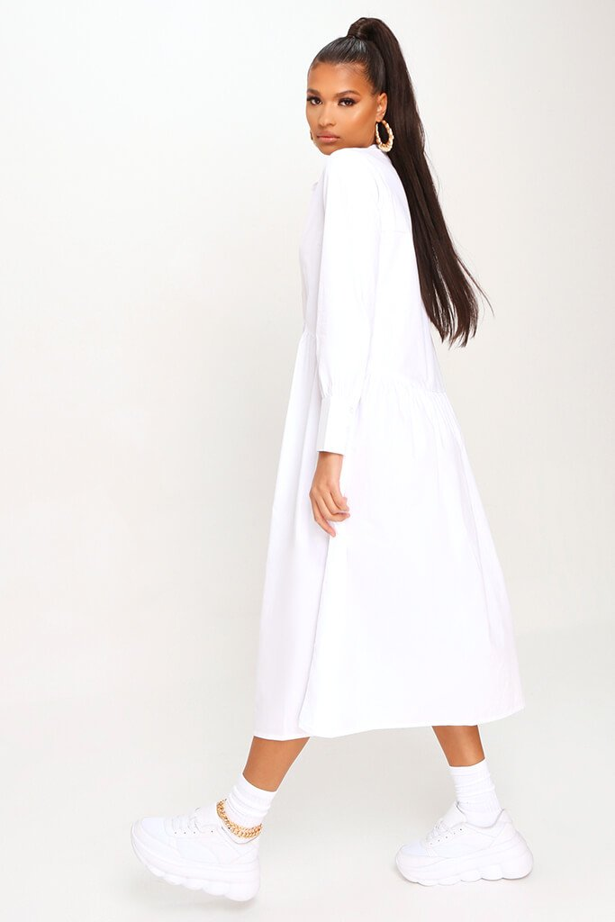 White Cotton Long Sleeve Midaxi Shirt Dress view 3
