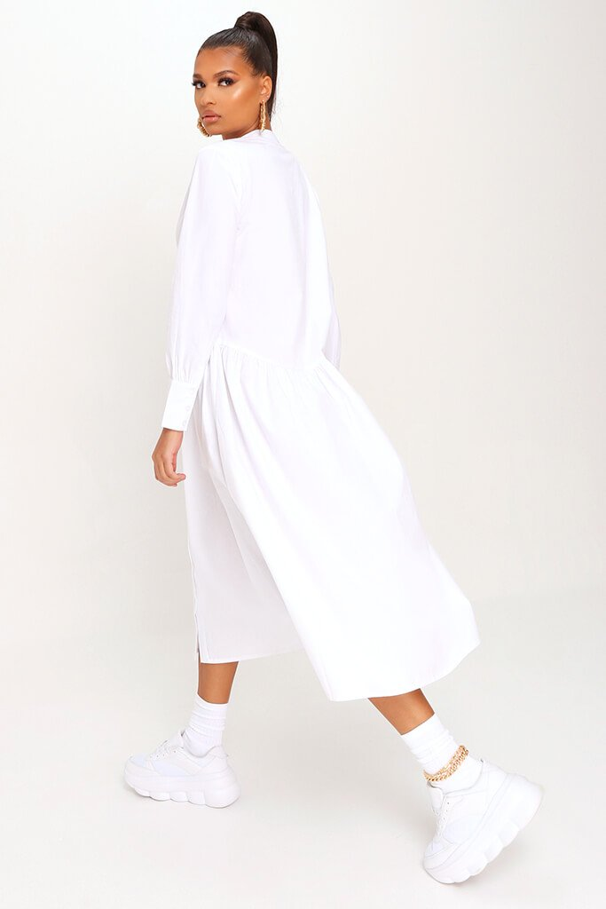 White Cotton Long Sleeve Midaxi Shirt Dress view 5