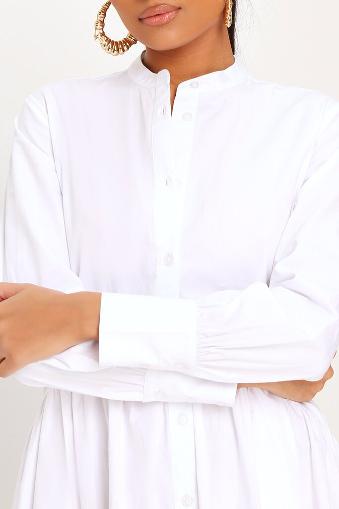White Cotton Long Sleeve Midaxi Shirt Dress view 4