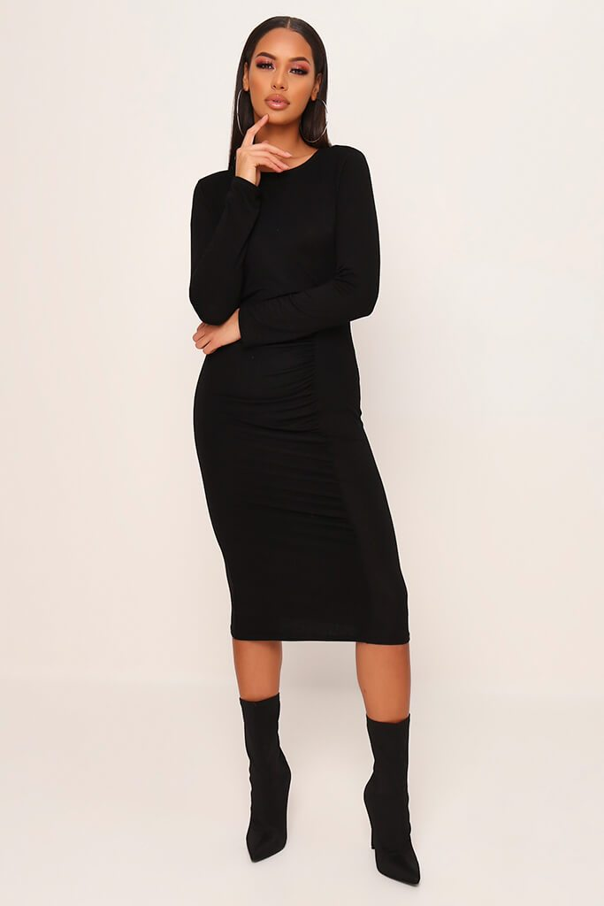 Black Jersey Ruched Front Midi Dress view main view