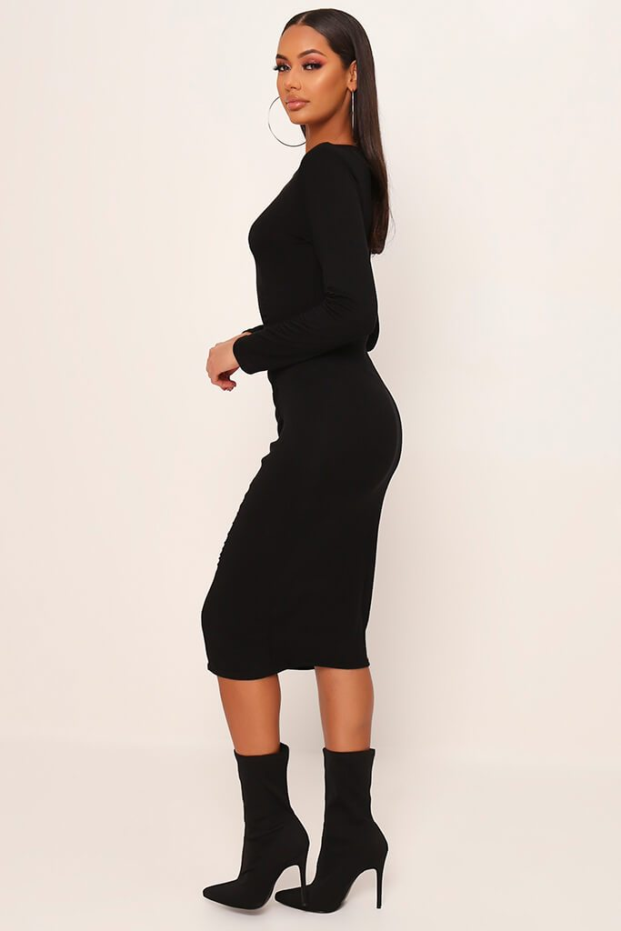 Black Jersey Ruched Front Midi Dress view 3
