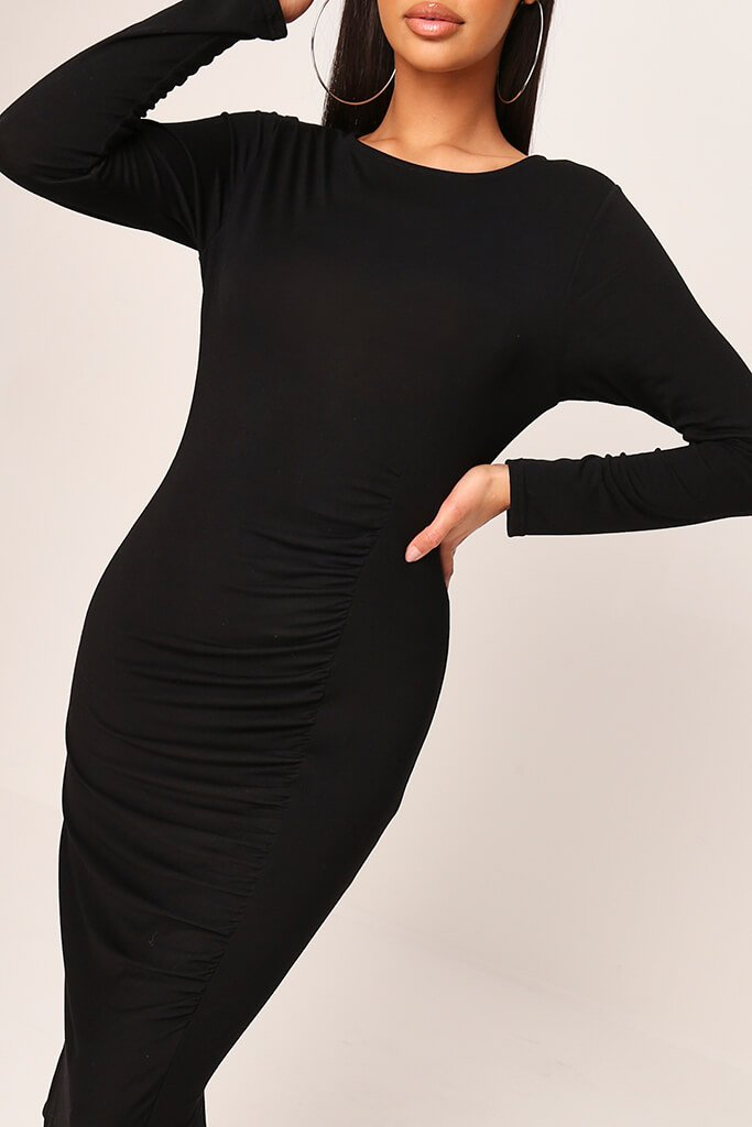 Black Jersey Ruched Front Midi Dress view 4